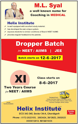 HELIX INSTITUTE CHANGIGARH MS SAYAL DROPPER BATCH DETAILS