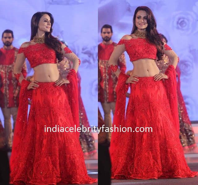 Ameesha Patel in Red Lehenga at National jewellery awards
