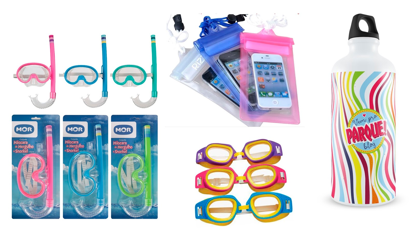 óculos mergulho, snorkel, squezze, capa celular a prova d'água
