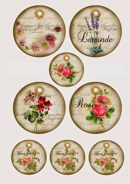 Etiquetas Circulares con Flores Retro.