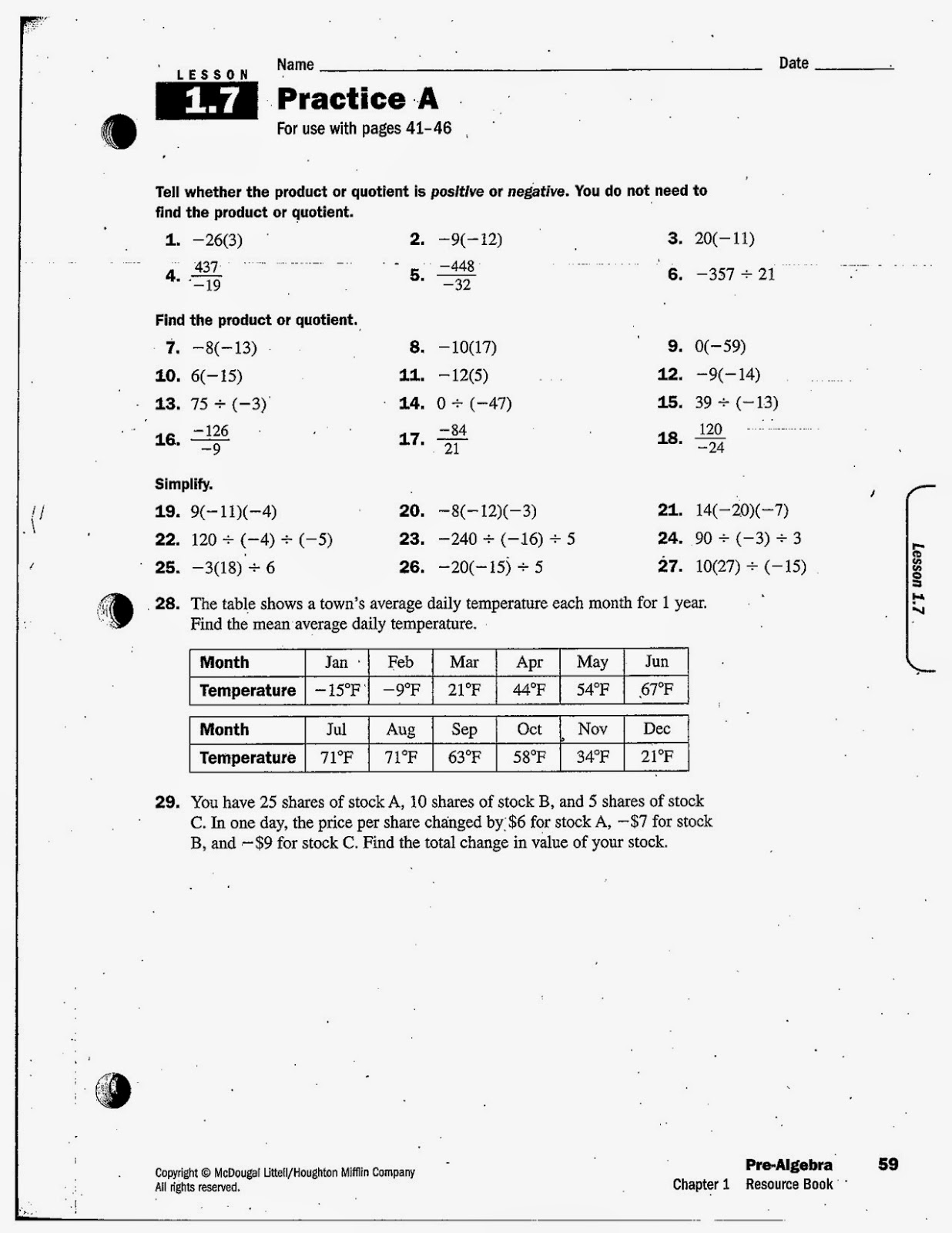 1.7A  Th Grade Pre Alge Math Book Online on