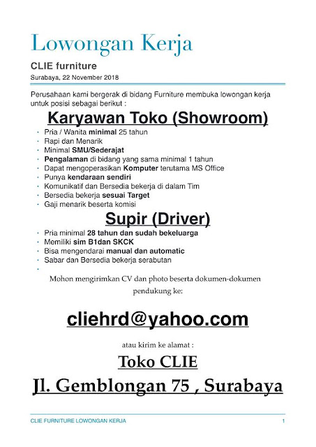 lowongan kerja driver & karyawan clie furniture