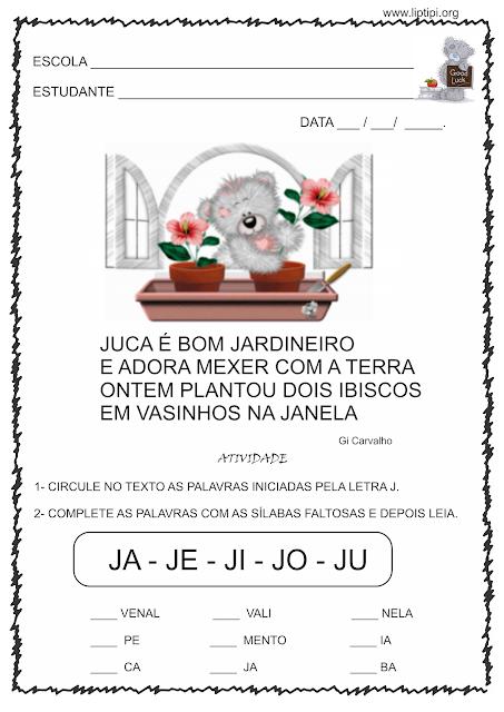 Atividades para trabalhar com a letra J