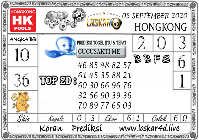 Prediksi Togel HONGKONG LASKAR4D 05 SEPTEMBER 2020