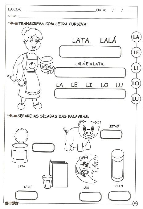 Atividades De Alfabetizacao Com A Letra L Para Imprimir E Colorir