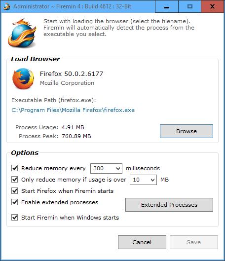 Firemin 4.0.2.4615 | Reduce el consumo de RAM de Firefox