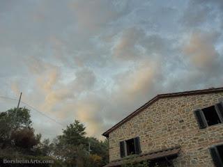 subtle sunset Tuscany Valleriana Italia stone house