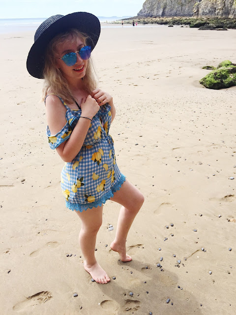 lemons, blue, hat, outfit, style, fashion