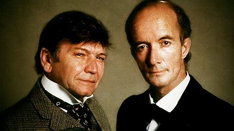 Michael Williams and Clive Merrison as Dr. Watson and Sherlock Holmes