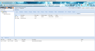 Nah inilah cuplikan dari proxmox yang berbasis web