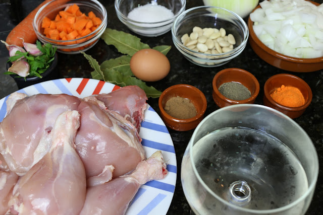 Ingredientes para pollo en salsa de almendras