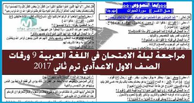 ليلة الامتحان في تسع ورقات لمادة اللغة العربية اولي اعدادي ترم ثاني 2017