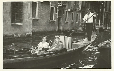 Grandparents on a gondola in Venice, 1956