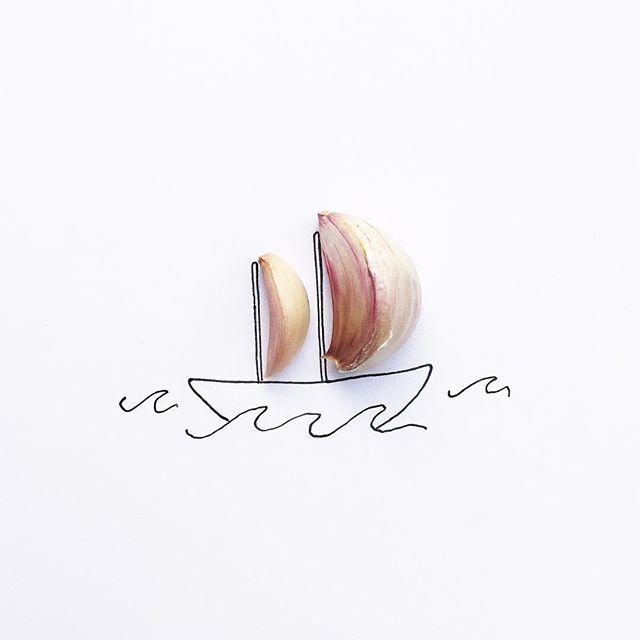 gambar sketsa pulpen yang di gabungkan dengan benda alami yang keren unik dan menarik-8