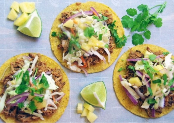 BBQ PULLED PORK TACO WITH PINEAPPLE COLESLAW