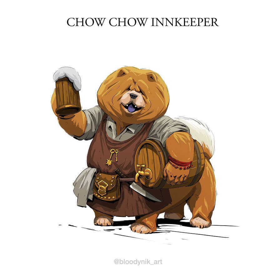 07-Chow-Chow-Innkeeper-Nikita-Orlov-Mythical-Dog-Centaur-Digital-Paintings-www-designstack-co