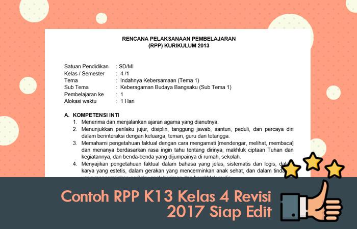 Rekomendasi Contoh RPP K13 Kelas 4 Revisi 2017 Siap Edit