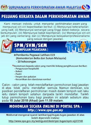 Jawatan Kosong Pembantu Pegawai Latihan Kementerian Belia dan Sukan 2018