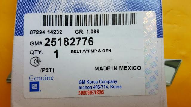 Dây cu roa máy phát Spark 2012 chính hãng GM