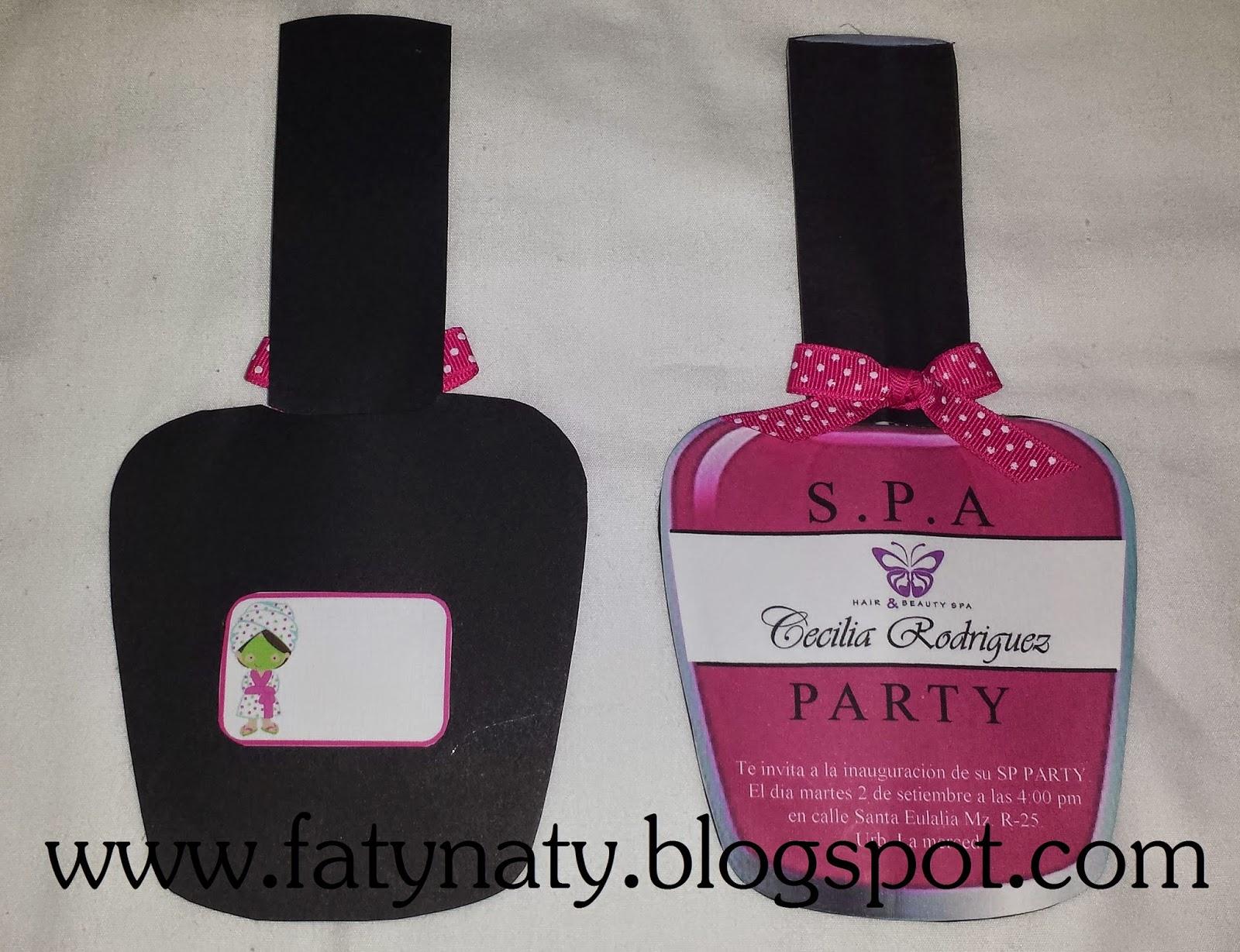 Creaciones Fatynaty Tarjeta De Invitación Spa Party