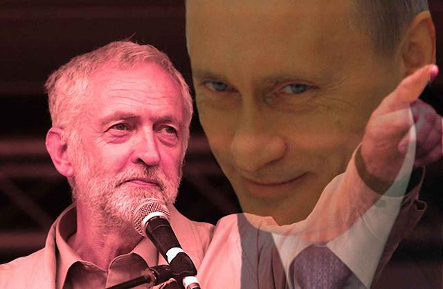 Corbyn e Putin, o líder trabalhista, admirador de Marx aliado ao reciclado coronel da KGB.