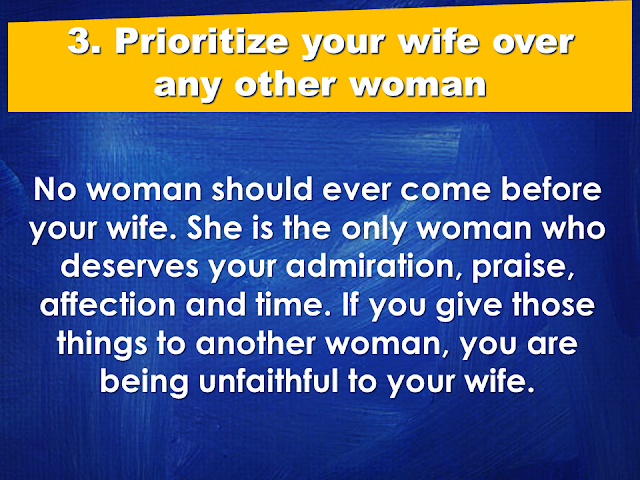 """A good wife is a gift from God. She is your best partner in everything. As the saying goes: """"Behind every successful man is a woman"""", your wife can make or break your career, thus, your wife has to have every attention she needed from you. She needs to be prioritized over anything in your life.  Under which situations do husbands need to prioritize their wives?  1. Prioritize your spouse over your family members.    2. Prioritize your wife over your friends.    3. Prioritize your wife over any other woman.   4. Prioritize time with your spouse over time with your children   5. Prioritize your spouse over your time on social media and internet.    After all, when all your kids grew up and raise their own families, all that you going have is each other. Love your wife and give her all your attention, and she will love and take care of you till death do you part. Source: Family Share  READ MORE:      ©2017 THOUGHTSKOTO www.jbsolis.com SEARCH JBSOLIS, TYPE KEYWORDS and TITLE OF ARTICLE at the box below"""