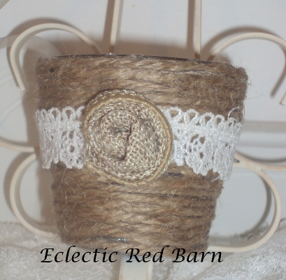 Eclectic Red Barn: Jute Wrapped Votives with Lace and Fabric Flower