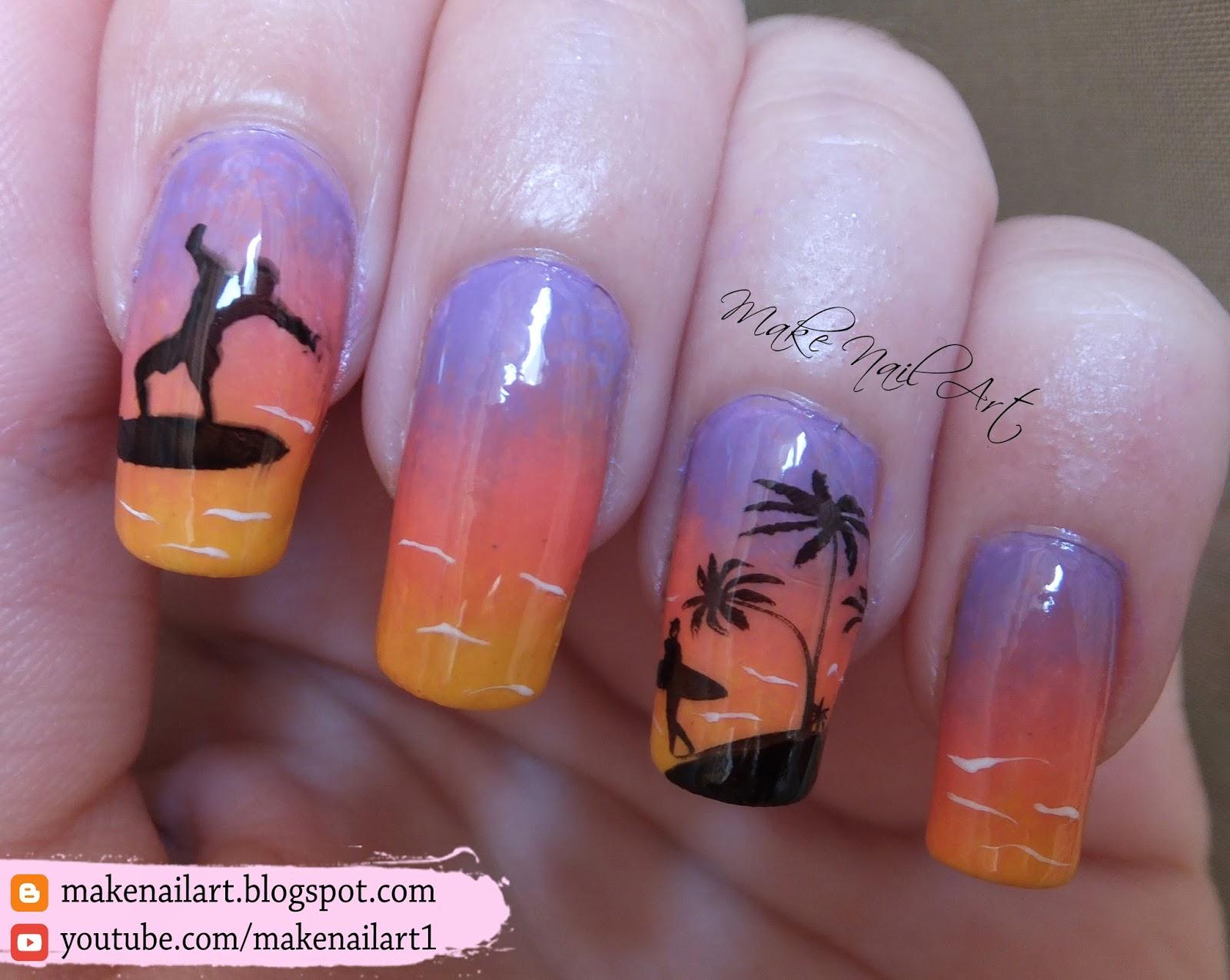 Make Nail Art: Summer Sea Sunset Stamping Nail Art Design Tutorial