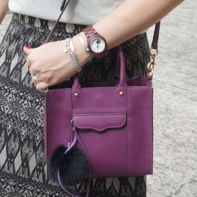 Rebecca Minkoff mini MAB tote in plum, printed maxi skirt | Away From The Blue