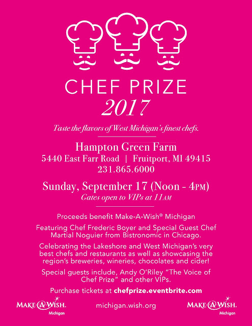 Chef Prize to Benefit Make a Wish Michigan September 17th at Hampton Green Farm in Fruitport