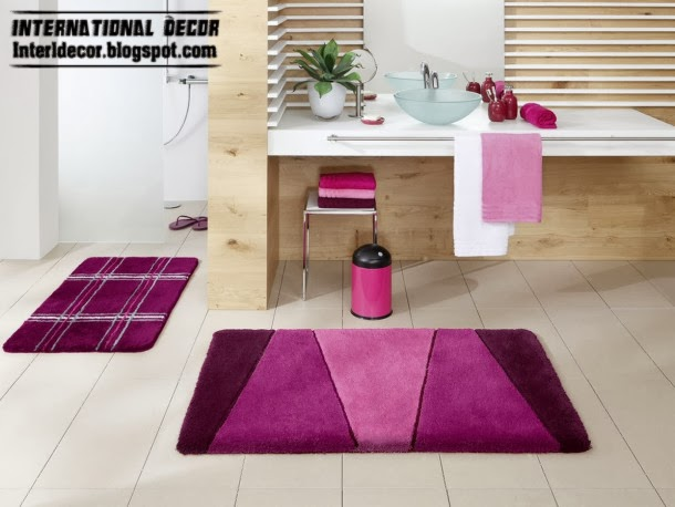 bathroom floor tiles and rug set purple