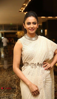 Actress Rakul Preet Singh Stills in White Dress at Winner Pre Release Function  0003.jpg