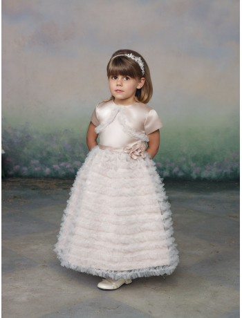 satin and tulle jewel neckline a line flower girl dress with lavish ruffle skirt - African Wedding Traditions