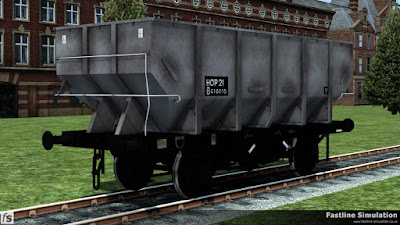 Fastline Simulation: A slighty grubby dia. 1/146 unfitted 21t coal Hopper in unfitted grey livery with un-boxed HOP 21 coding.