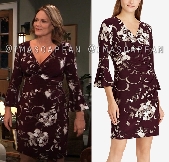 Jeannette Marino, Jeannette Marino, Plum Purple Floral Bell Sleeve Dress, General Hospital, GH