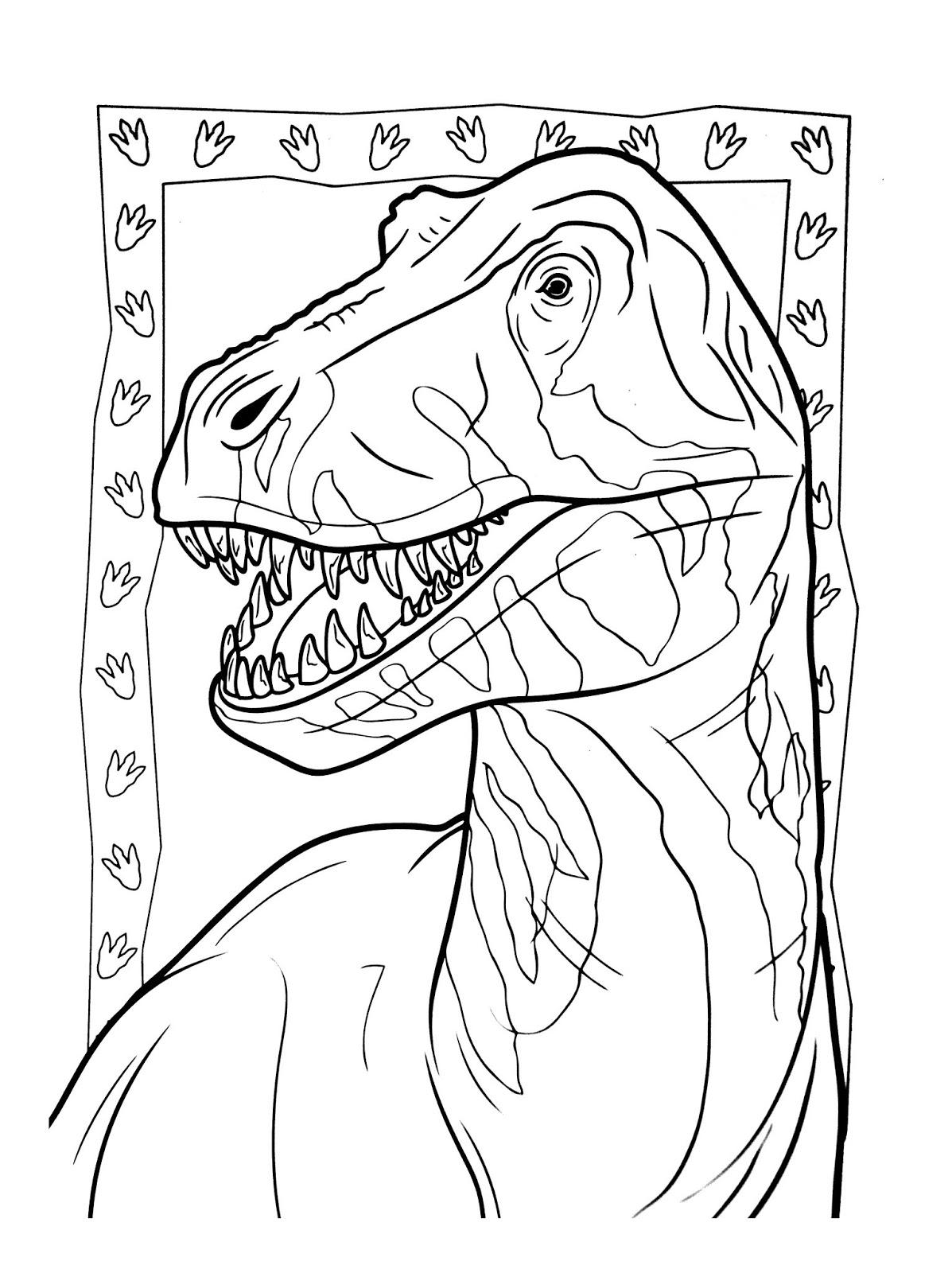 Tranh tô màu chân dung khủng long ăn thịt