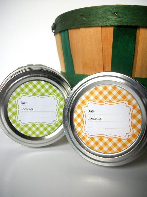 Bright Gingham Mason Jar Labels