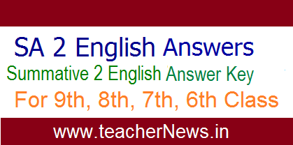 SA 2 English Answer Key 6th, 7th, 8th, 9th Class for AP Schools April 2019