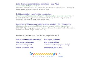 """Pesquisa no google sobre """"bebida vegetal de arroz"""""""