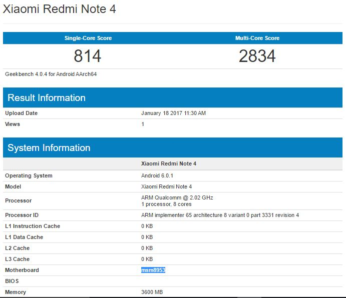xiaomi redmi note 4 with snapdragon 625 4gb ram spotted