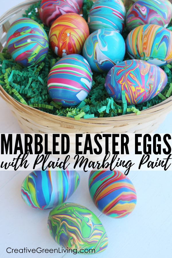How to make marbled Easter eggs. This easy easter craft uses fake eggs (craft eggs) so that they are reusable year after year. This marble painting technique is easy to do and perfect for the whole family! #creativegreenliving #easter #eastercrafts #eggdecorating #marbledeggs #marblepainting