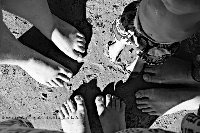 A Cottage Independence Day by Rosevine Cottage Girls, our feet in the sand trying to find joy again
