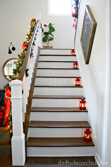 Stained treads and white risers on stairs