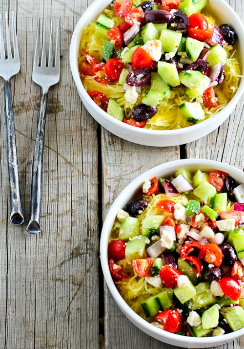 Greek Salad Spaghetti Squash Bowl found on KalynsKitchen.com