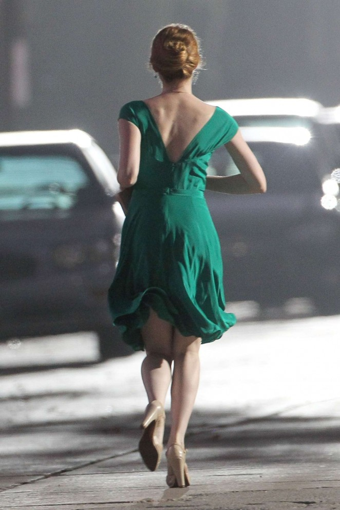Emma Stone in Green Dress on La La Land