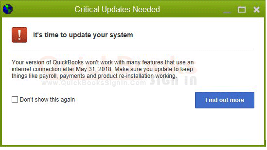 Critical Update Needed - 2018 QuickBooks Message |