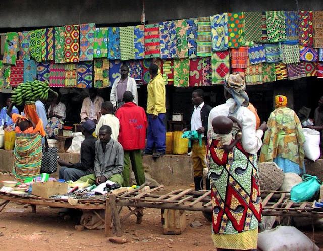 At market in Rwanda Africa.