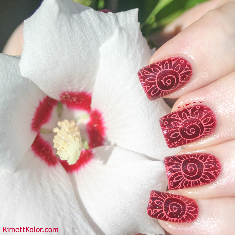 KimettKolor Crimson Flowers Stamping Nail Art