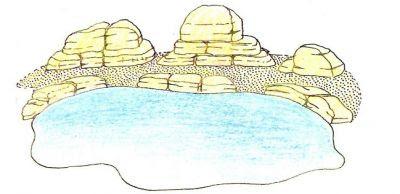 rocalla en estanque