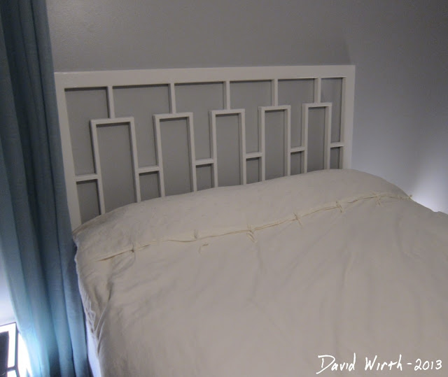 build a cheap headboard, pine wood, queen bed, white